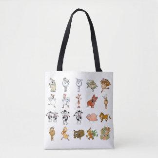 Animais de fazenda engraçados dos desenhos bolsa tote