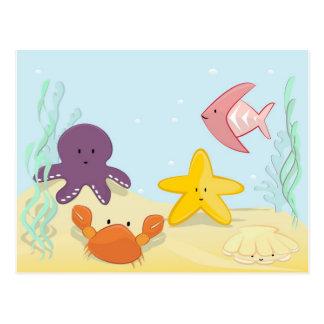 Animais de mar bonitos cartão postal