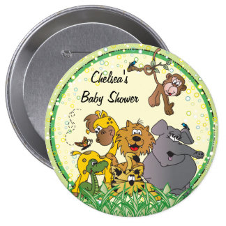 Animais do bebê da selva do safari bóton redondo 10.16cm