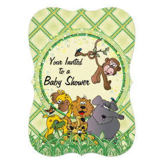 Animais do bebê da selva do safari convites personalizado