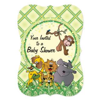 Animais do bebê da selva do safari convite 12.7 x 17.78cm