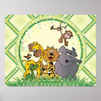 Animais do bebê da selva do safari poster