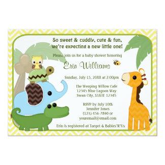 Animais do convite do chá de fraldas dos bebês do