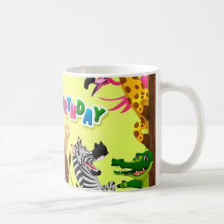 Animais do jardim zoológico do feliz aniversario caneca de café