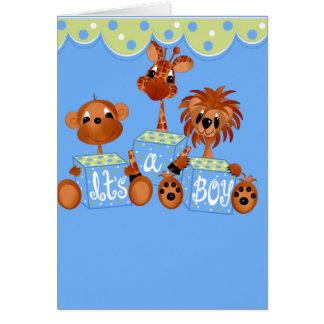 Animais do jardim zoológico é cartões de um menino