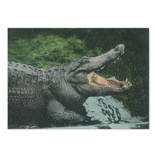 Animais do vintage, répteis, convite do crocodilo