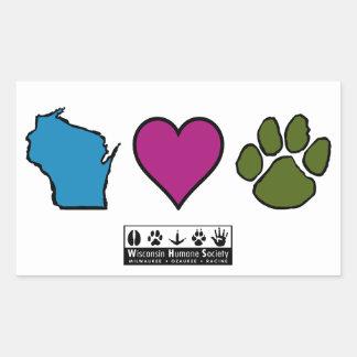Animais dos corações de Wisconsin Adesivo Em Formato Retângular