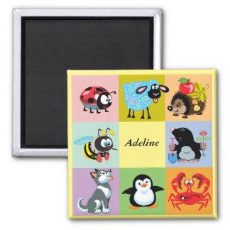 animais dos desenhos animados para miúdos imã de geladeira