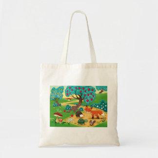 Animais na madeira bolsa para compras