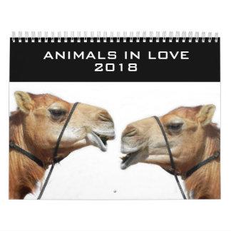 Animais no calendário 2018 do amor |