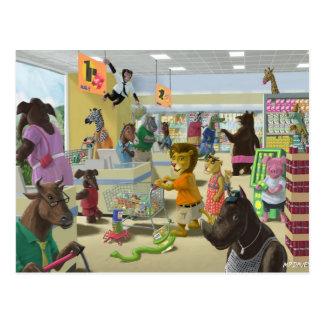 animais que fazem sua compra em um supermercado cartão postal