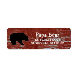 Animais selvagens de madeira da natureza do urso etiqueta endereço de retorno