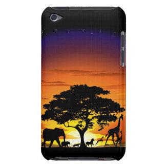 Animais selvagens na capa do ipod touch do por do