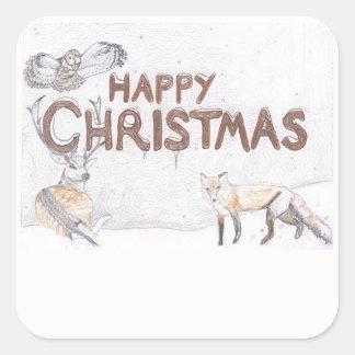 Animais selvagens na etiqueta do Natal