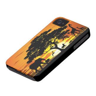 Animais selvagens no capa de iphone 4 do por do