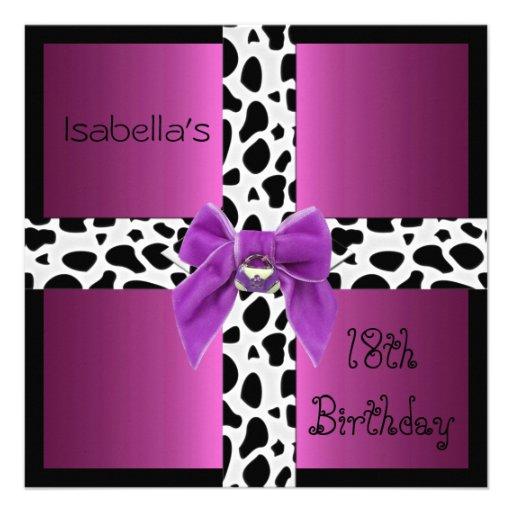 Animal adolescente do rosa selvagem do aniversário convites personalizados