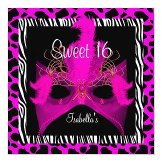 Animal adolescente do rosa selvagem do aniversário convite quadrado 13.35 x 13.35cm