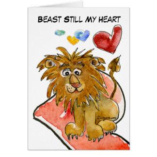 Animal ainda meu cartão dos corações do leão do