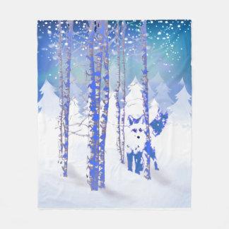 Animal azul do Fox da floresta da neve do inverno Cobertor De Lã