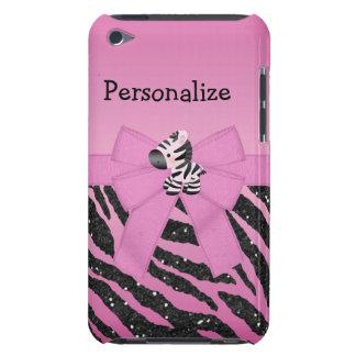 Animal cor-de-rosa da zebra, do arco & do brilho capa para iPod touch