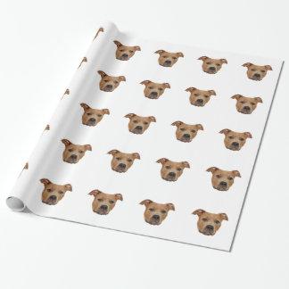 Animal de estimação da cara do cão de Pitbull Papel De Presente