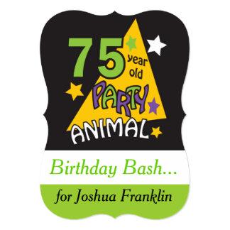 Animal de partido das pessoas de 75 anos - 75th convite 12.7 x 17.78cm