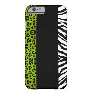 Animal do costume do leopardo e da zebra do verde capa barely there para iPhone 6