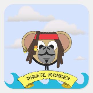 Animal dos desenhos animados do capitão Pirata Adesivo Quadrado