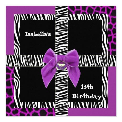 Animal roxo selvagem do 13o aniversário adolescent convites personalizado