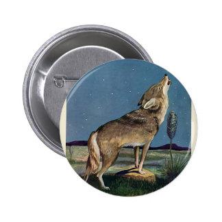 Animal selvagem do vintage, lobo que urra na lua bóton redondo 5.08cm