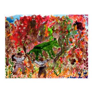 Animal verde no cartão vermelho das árvores