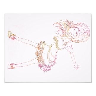 Anime colorido Popstar - luz - fundo cor-de-rosa Impressão De Foto
