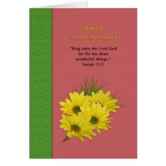 Aniversário, 100th, margaridas amarelas, religiosa cartão