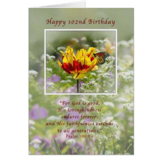 Aniversário, 102nd, religioso, borboleta cartão comemorativo