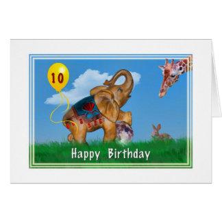 Aniversário, 10o, elefante, girafa, coelho, balão cartao