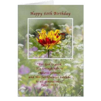 Aniversário, 60th, tulipa e borboleta, religiosos cartão comemorativo