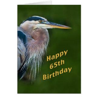 Aniversário, 65th, cartão de nota do pássaro da