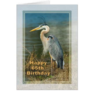 Aniversário, 65th, cartão do pássaro da garça-real
