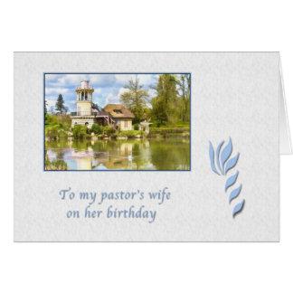 Aniversário, a esposa do pastor, casa de campo cartão comemorativo