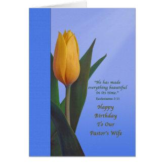 Aniversário, a esposa do pastor, flor dourada da cartão comemorativo