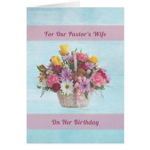 Aniversário, a esposa do pastor, flores coloridas cartao