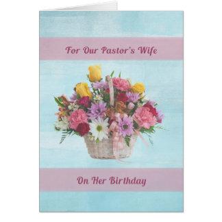 Aniversário, a esposa do pastor, flores coloridas cartão comemorativo