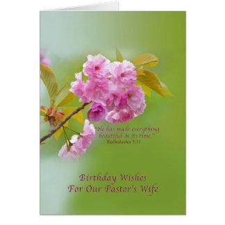 Aniversário, a esposa do pastor, flores de cartão comemorativo