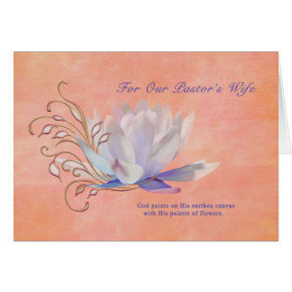 Aniversário, a esposa do pastor, lírio de água, cartão comemorativo