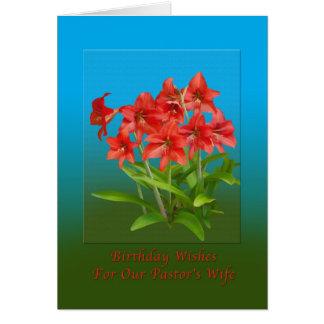 Aniversário, a esposa do pastor, lírios de dia cartão comemorativo
