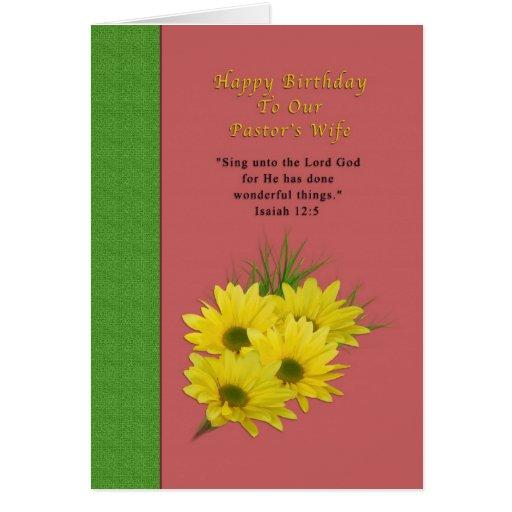Aniversário, a esposa do pastor, margaridas amarel cartões
