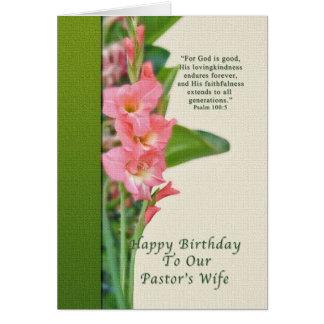 Aniversário, a esposa do pastor, tipo de flor cartão comemorativo