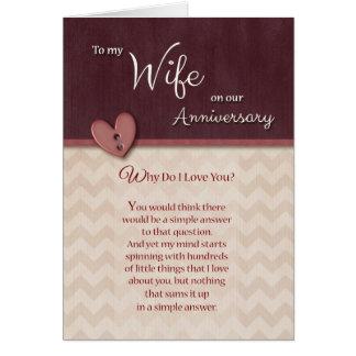 Aniversário à esposa - por que faça eu te amo? cartão comemorativo
