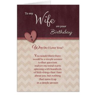 Aniversário à esposa - por que faça eu te amo? cartao