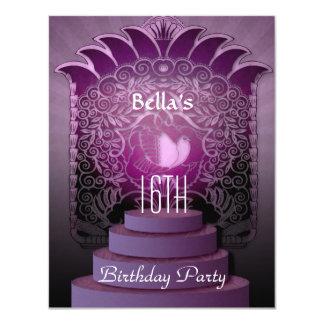 aniversário adolescente do lilac do coração do convite 10.79 x 13.97cm